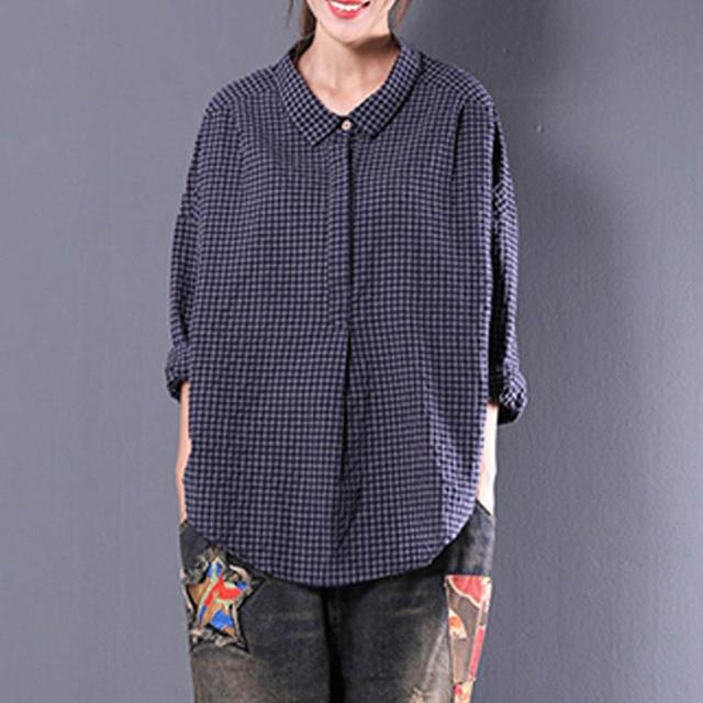 599dd26015f0e9 ZANZEA Autumn Cotton Linen Blouse Long Sleeve Turn Down Neck Pullover Top  Female Autumn Leisure Casual Back Lace-Up Split Blusas
