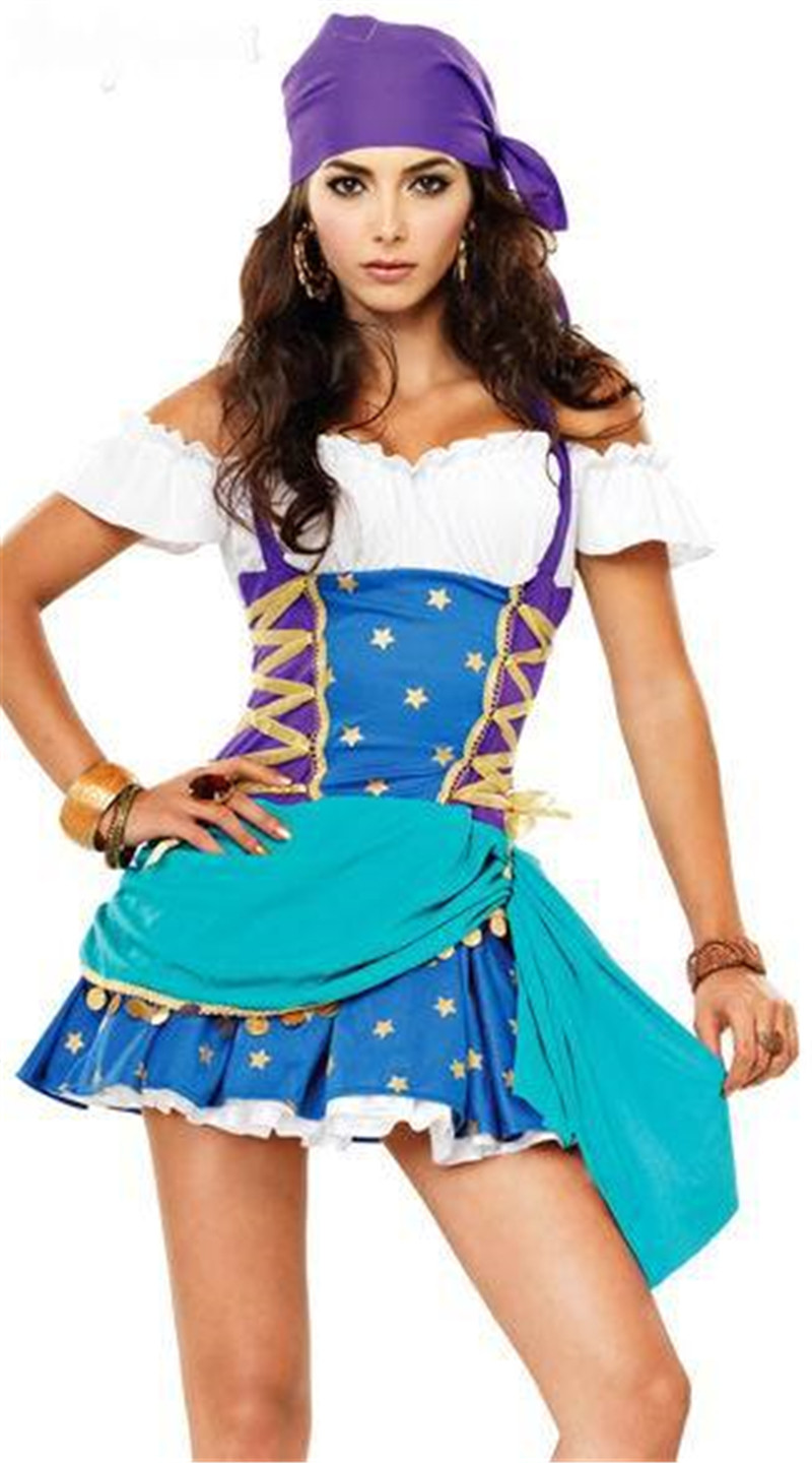 COULHUNT 2017 Gypsy Girls Cosplay Costume Pirate Gypsy Play Costume ...