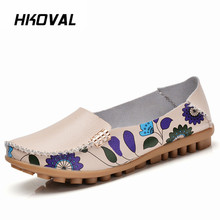 HKOVAL Women Shoes Casual Genuine Leather Woman Loafers Female Flats Moccasins Ladies Driving Shoe Mother Footwear tastabo casual genuine leather flat shoe for women flower slip on driving shoe female moccasins flats lady pregnant women shoes