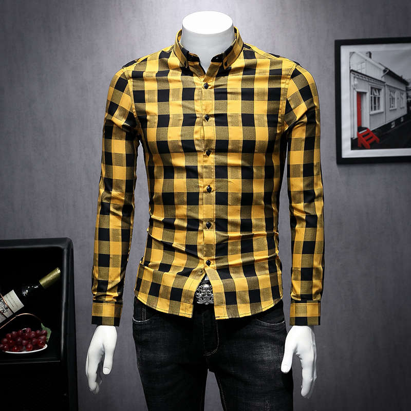 Британский стиль, осень 2019, новая клетчатая рубашка с принтом, мужская рубашка с длинным рукавом, Camisa Masculina, высокое качество, рубашки, Мужска...