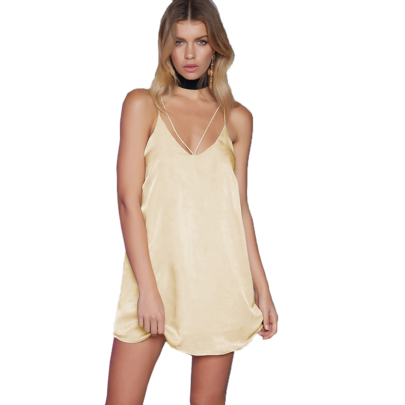 Colysmo Champagne Women Satin Slip Dress Sexy V Neck Strappy Cross Silky Dress A-Line Party Dress Casual Vestidos 2017 New DS301