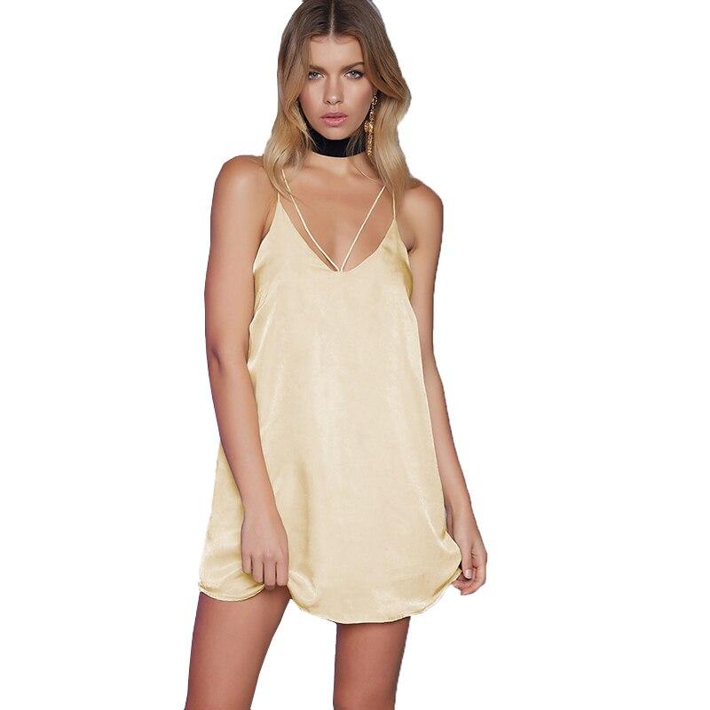 Smoves Champagne Women Satin Slip Dress Sexy V Neck Strappy Cross Silky Dress A-Line Party Dress Casual Vestidos 2017 New DS301