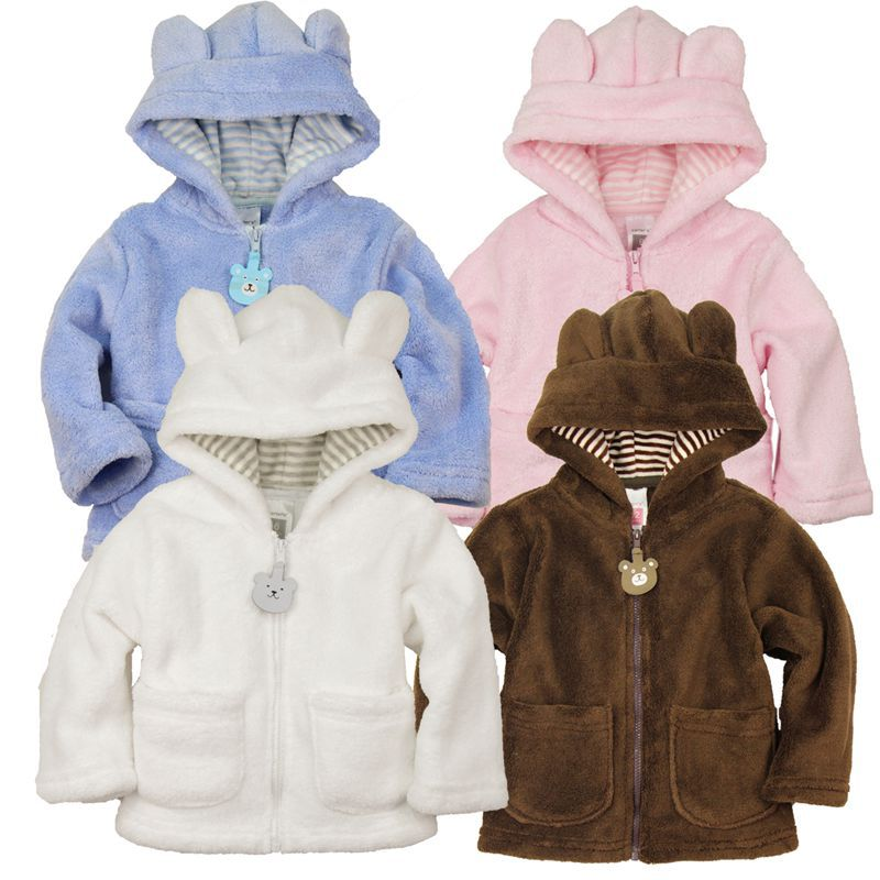 2014 spring autumn Coral velvet baby jacket/coat long-sleeved hooded infant boy girl carter thick tops