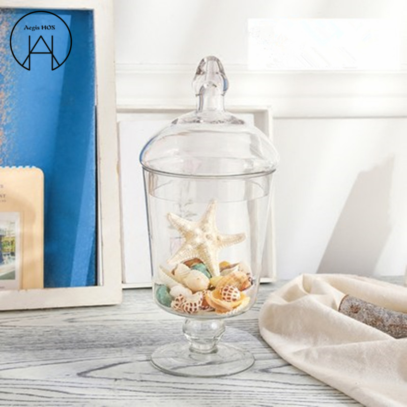 Small transparent Glass Candy jar living room Decoration Storage tank wedding shop layout Glass Cans sugar bowl