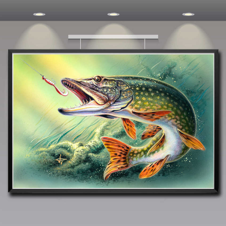 Kunstwerk Dieren Vis Water Art Zijde Stof Poster Prints Home Muur Decor Schilderen 12x18 16X24 20x30 24x36 Inches Gratis Verzending