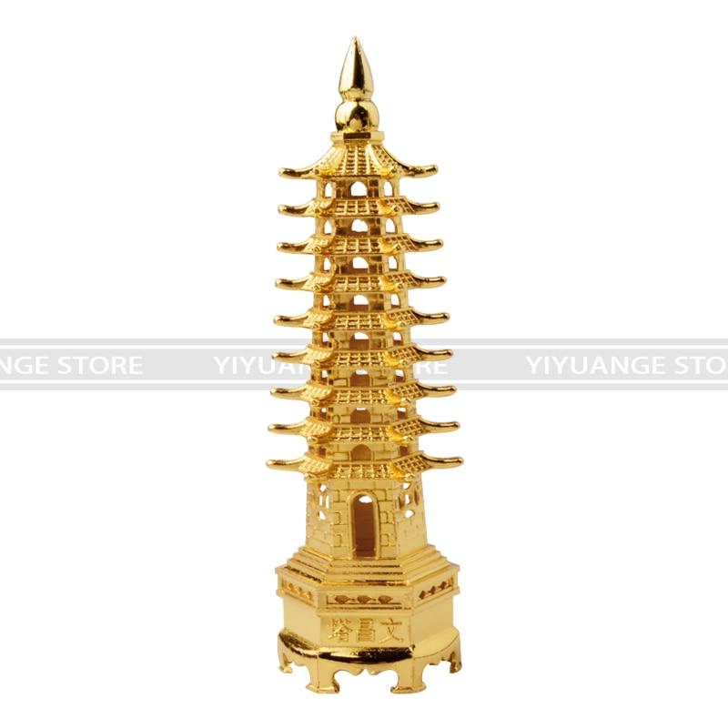 Metal Model China Wenchang Pagoda Tour Statue Souvenir Office Room Decor KV