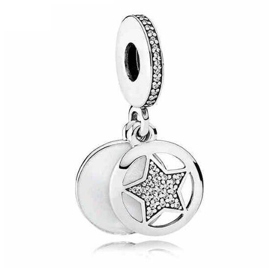 Authentic 925 Sterling Silver Friendship Star With Crystal Pendant Bead Charm Fit Pandora Bracelet & Necklace WOMEN DIY Jewelry