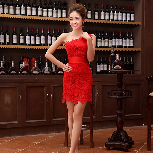 e6ffba1cb4b Robe demoiselle d'honneur latest lace tight one shoulder red Ivory  bridesmaid dresses short sexy wedding party gown wholesale