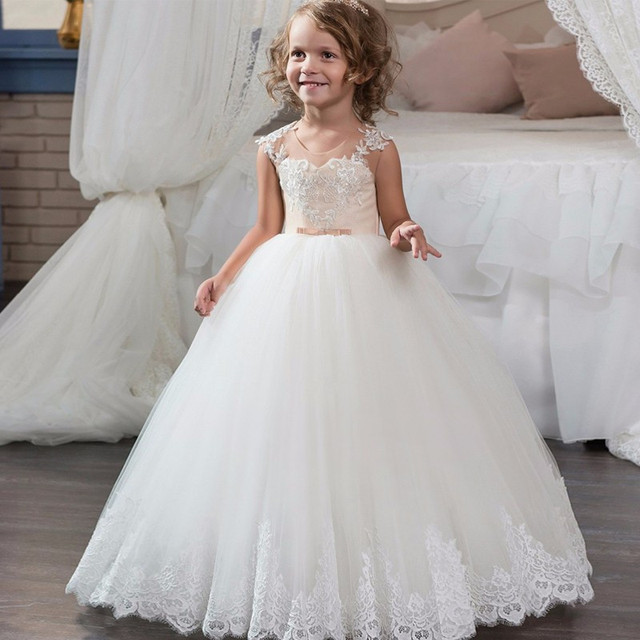 71185e6a522 New Flower Girl Dresses With Elegant Lace Tulle Kids Party Birthday Dress  First Communion Dress For