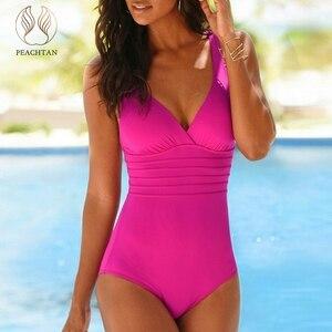 Image 1 - Peachtan V צוואר בגד ים חתיכה אחת סקסי ביקיני 2019 חדש קיץ גבוה לחתוך בגדי ים נשים בגד ים Monokini חוף ללבוש מתרחצים