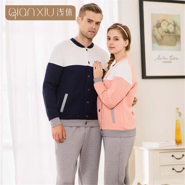 5629d2f4fa Qianxiu winter pajamas Couple pajamas sets Men nightwear v-neck sleepwear  Men Homewear Thickening of