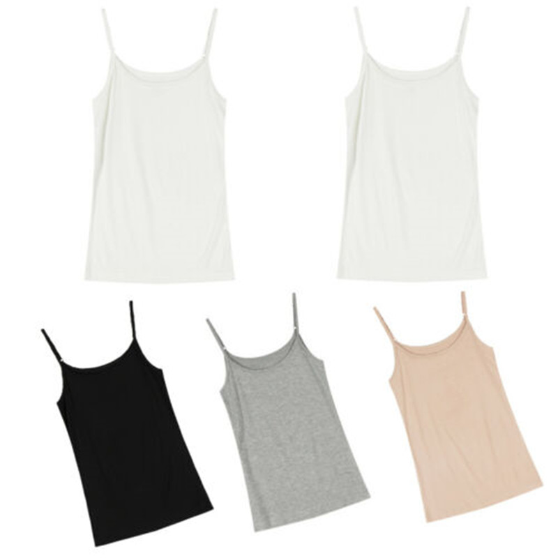 2019 Women Summer basic cotton Camis Sexy Slim Fit   Tank     Top   Solid Sleeveless strappy Camisole lady homewear Vest 4 colors