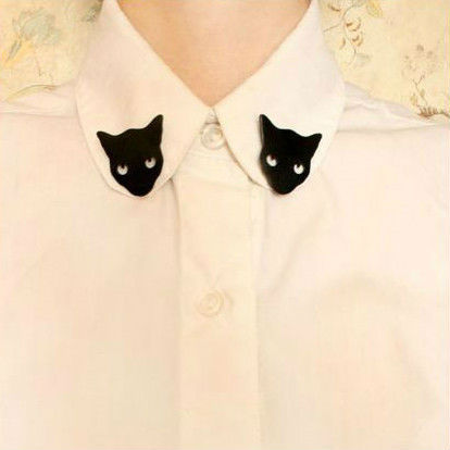 Free shipping Min.order $15 (mix order)    Black Cat Woman Girl Blouse Shirt Collar Neck Tips Brooch Pin Costume Punk