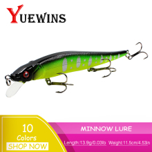 Купить с кэшбэком YUEWINS Minnow Fishing Lures 11.5cm 13.9g High Quality Artificial Fish Bait 3D Eye Floating Crankbait Wobbler Pesca Lures TP1143