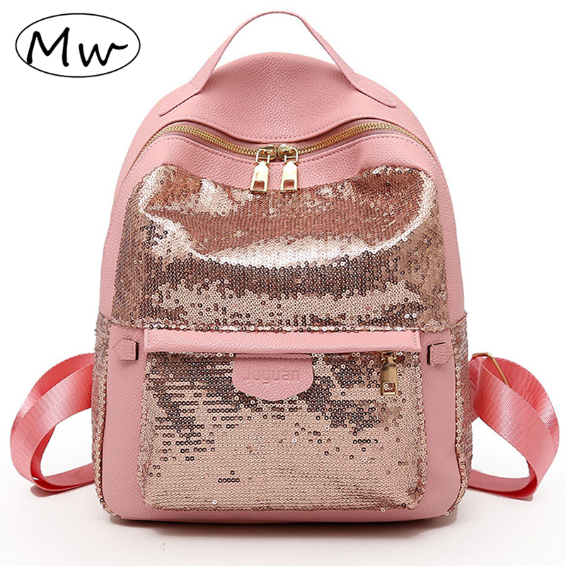 Moon Wood Fashion Solid Sequins Backpack Women Small PU Leather Backpack Girls Double Shoulder Bag Schoolbag Book Bag Rucksack