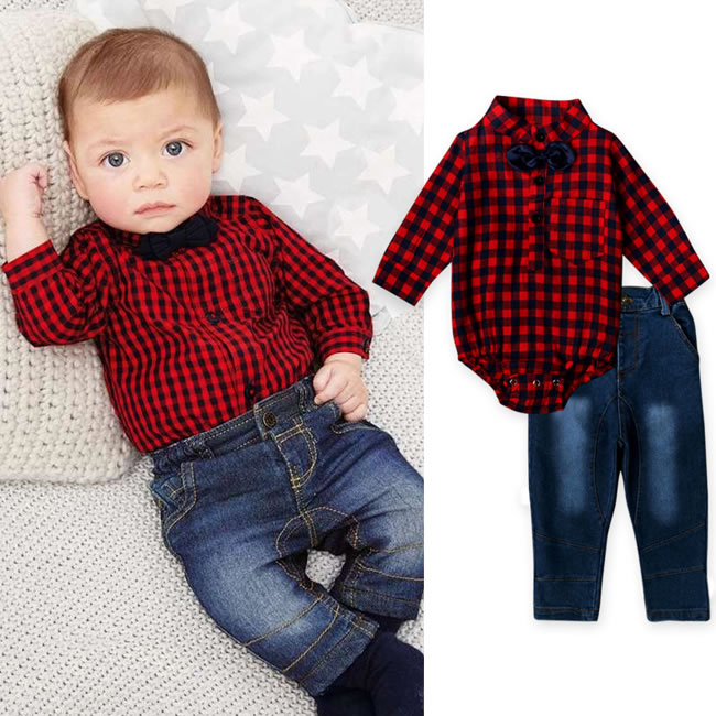 1st Birthday Outfits For Baby Boy Denim Set Clothes Bow Tie Plaid Bodysuit Top Jean