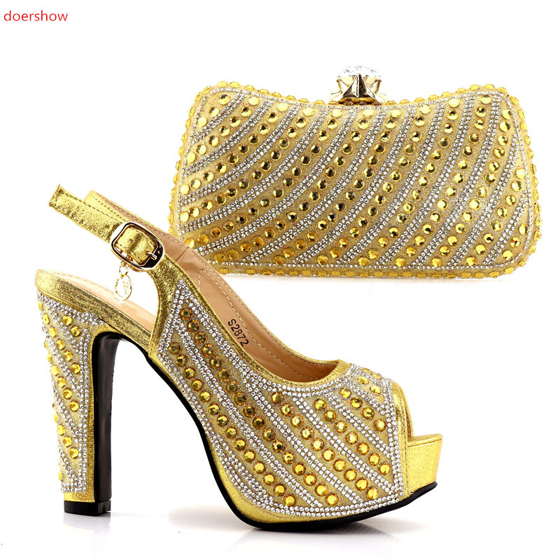 doershow 2018 gold colorLatest Italian Shoes With Matching Bags Women Nigeria Wedding Shoes And Bag To Match With Stones JJC1-15 beautiful italian shoes with matching bags to match new african shoes and matching bag sets for wedding doershow hvb1 49