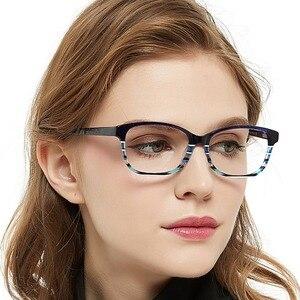 Image 4 - แฟชั่นลาย Clear กรอบแว่นตาผู้หญิง Vintage Presbyopia แว่นสายตาสายตาสั้นกรอบแว่นตา Nerd กล่อง MARE AZZURO AMOS