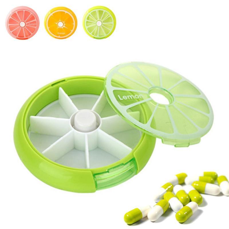 1 шт. Пластик путешествия таблетки случае мини лимон круглый неделю медицины поле открытый сократить таблетки коробка для хранения вращающ...