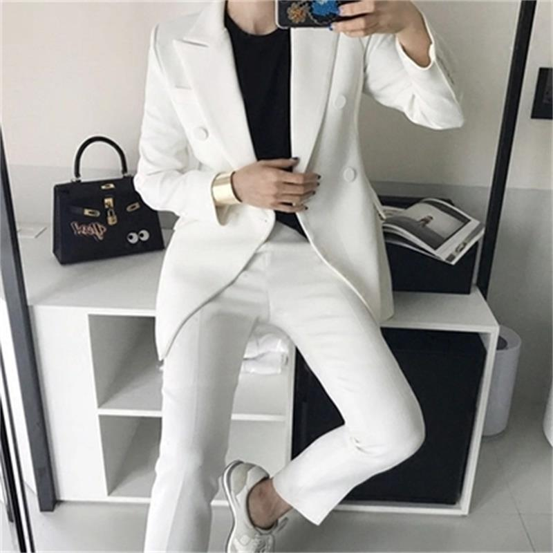 Fashion Pink White Suit Suit Female Spring New Leisure Double-breasted Small Suit+pants Professional Wild Two-piece Suit Women
