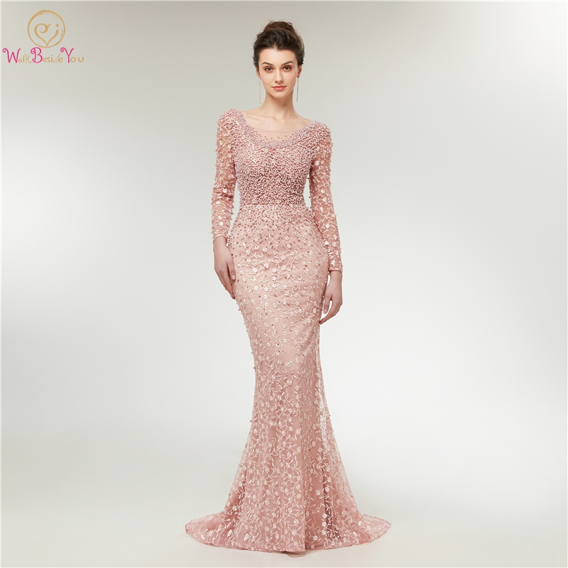 Pink Lace Evening Dress 2019 New With Pearls Floor Length Sweep Train Mermaid Elegant Robe Femme Three Quarter Sleeves Prom Gown