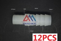 12 Pieces 14mm M14 Straight Connector Plastic Pipe Fitting Barbed With Thread Material PE Joiner Fitting
