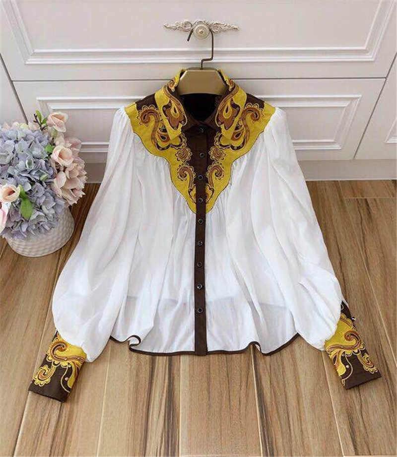 2 sztuk kobiet Runway Puff haft z długim rękawem Loose Fit seksowna koszulka z dekoltem w serek koszule krótkie spodnie letnie dopasować kolory stroje a319