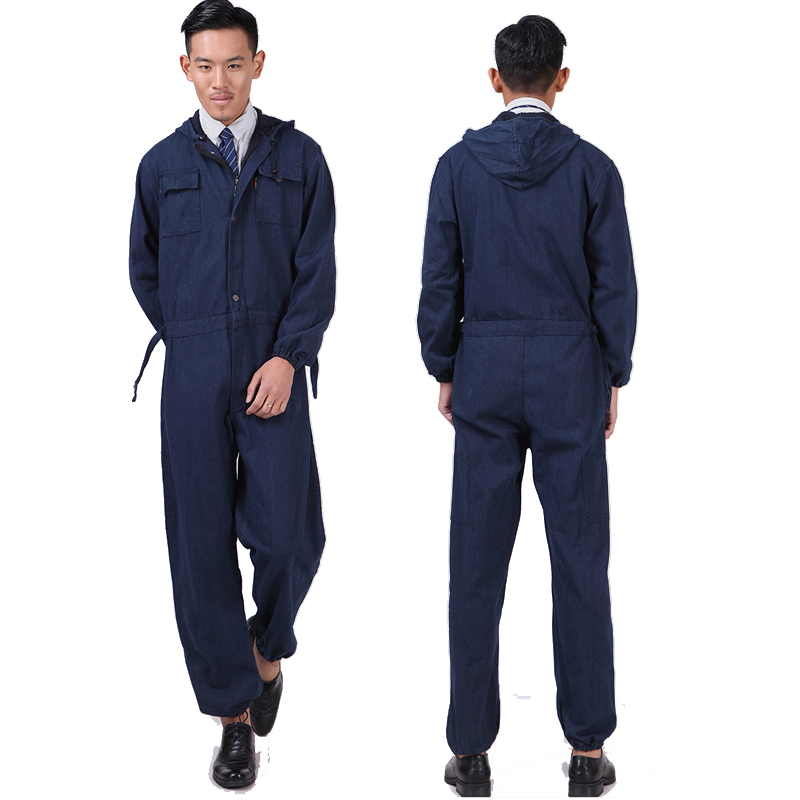 New Men Overalls Denim Work Clothing Long Sleeve Hooded Coveralls Labor Overalls For Machine Welding Auto Repair Painting M-4XL new men s denim overalls men slim fit cotton casual jeans jumpsuits for men long sleeves zipper patch trousers clothing
