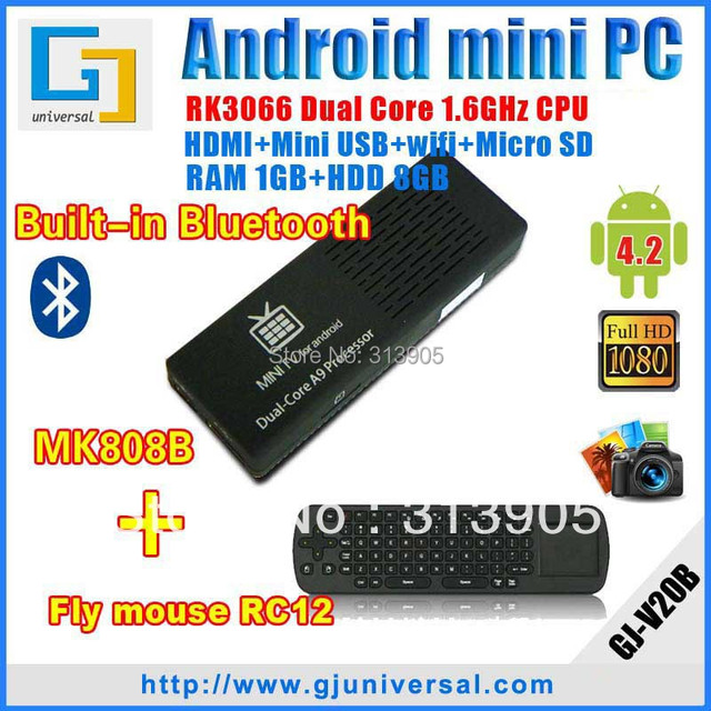 1lot=1pc Free RC12 Air Mouse keyboard+1pc MK808B Bluetooth Mini PC with keyboard Android 4 2 RK3066 A9 Dual Core TV stick