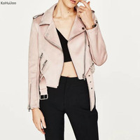 KoHuiJoo Spring Autumn Women S Jackets And Coats Zipper Belted Long Sleeve Basic Faux Suede Jacket