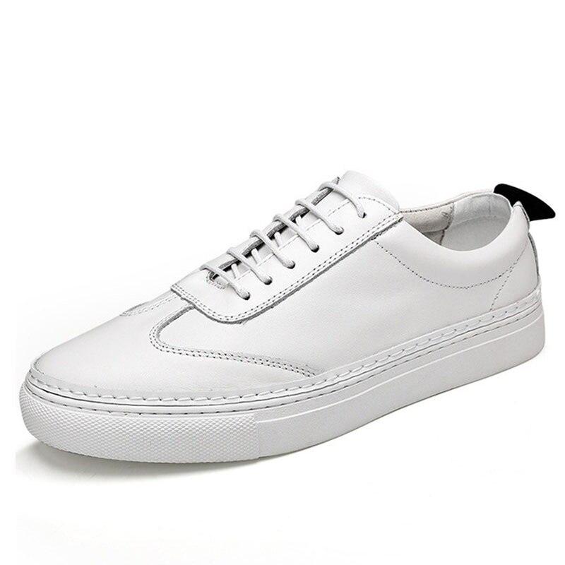 Couro Pé Dos Dedo Ao Redondo Aa11624 Desgaste Genuíno Condução Homens De Preto branco Casuais Lace up Sapatos Macio Respirável Do Resistentes a6v57qnpvF