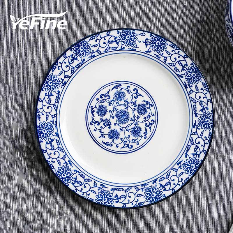 YeFine Blue And White Porcelain Dishes And Plates 10 inch Ceramic Dinner Plate Tableware Steak Round & YeFine Blue And White Porcelain Dishes And Plates 10 inch Ceramic ...