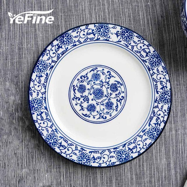 Delicieux YeFine Blue And White Porcelain Dishes And Plates 10 Inch Ceramic Dinner  Plate Tableware Steak Round Dishes Traditional Chinese
