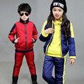 Горячая 2016 осень и зима новая мода дети цвет шить мальчик девочка открытый теплый трех частей спорт и leisure suit