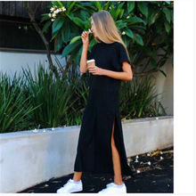 women Polyester Casual Straight Solid dress Full Ankle-Length dress Regular Natural shein dress