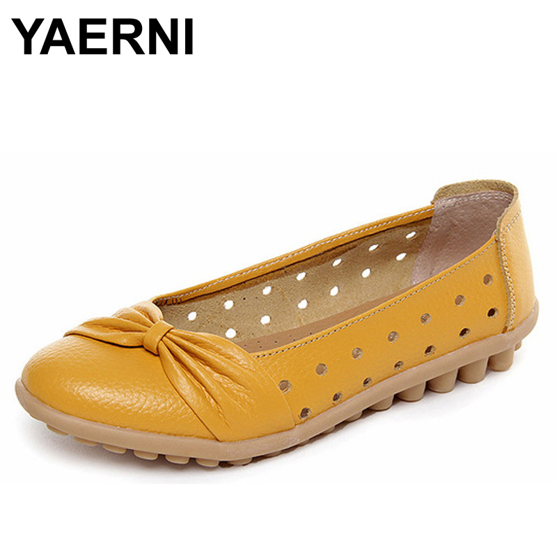 YAERNI 2017 women ballet flats shoes genuine leather solid slip on summer women flats shoes 8 kinds loafers mother shoes woman 2018 spring women flats shoes women genuine leather shoes woman cutout loafers slip on ballet flats ballerines flats 169