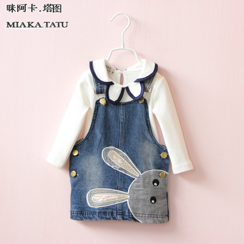 new fashion baby jean dress child clothing sets children clothes suits kids girls princess bunny denim dresses + girl blouse korea lace knitted sweaters warm dresses winter baby wear clothes girls clothing sets children dress child clothing kids costume