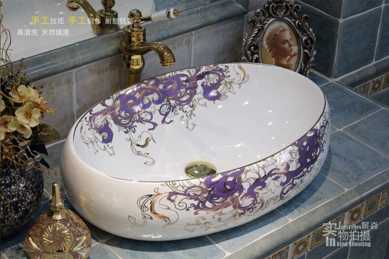 Oval Shape Artistic Hand Maded Hand Painted Ceramic Porcelain Wash Basin Lavabo Sink Bathroom Sink Bathroom Sink Manufacturer