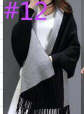 SC2 большой шарф Зимний вязаный пончо женский однотонный дизайнерский плащ женский длинный рукав летучая мышь пальто винтажная шаль - Цвет: Black With Grey
