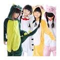 Crianças inverno flanela animal pikachu totoro cat cow dinosaur tiger pateta pijama unicórnio onesie criança traje cosplay sleepwear