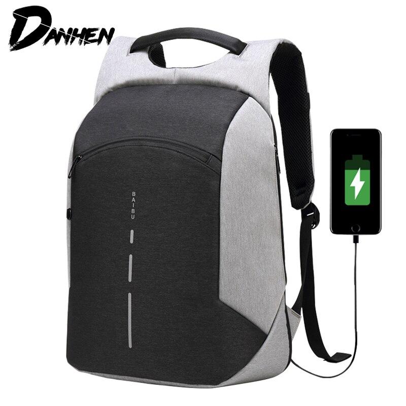 627e7176d1 DANHEN 15.6 Laptop Backpack USB Charging Anti Theft Backpack Men Travel  Backpack Waterproof School Bag Male