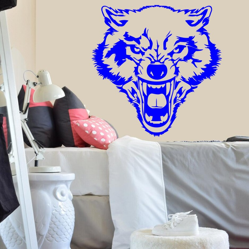Roaring Wolf Wall Sticker Removable Vinyl Decal Wild Animal Nature Art House Decoration Home Accessories Room Bedroom Decorww 76