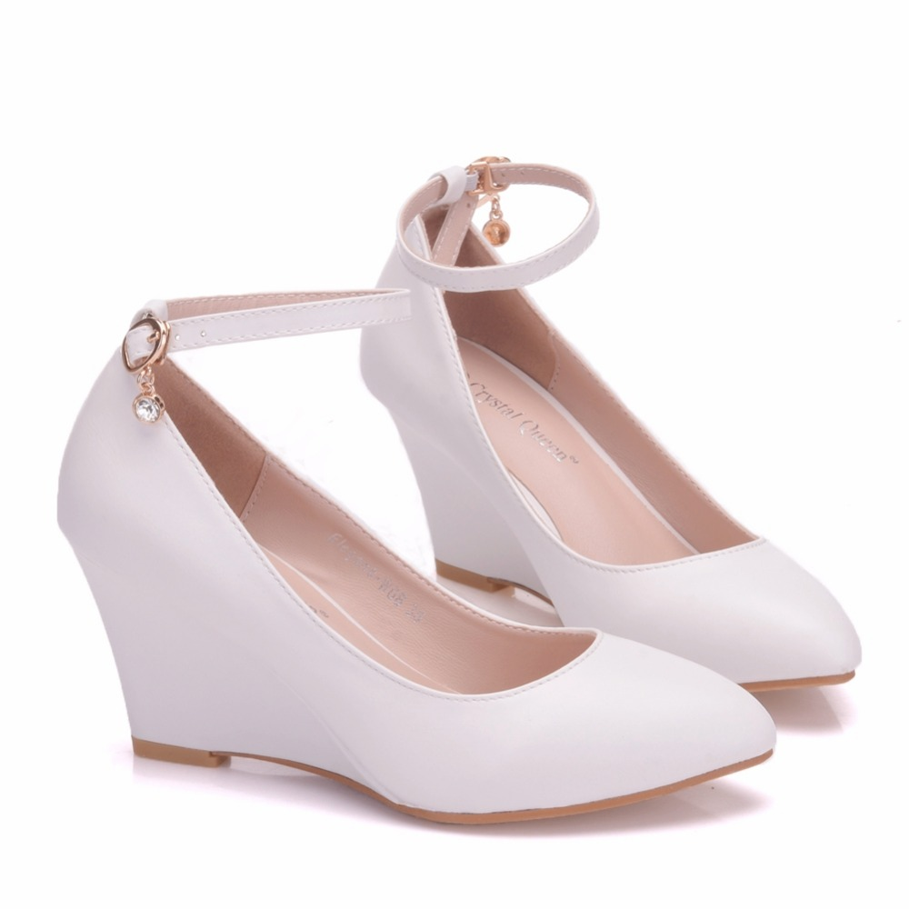 Crystal Queen White Lace Wedges Shoes Platform Wedges Heels White Wedges  Women Shoes Lace and Pearls Wedding Shoes USD 31.32-32.20 pair 83e101a98c94