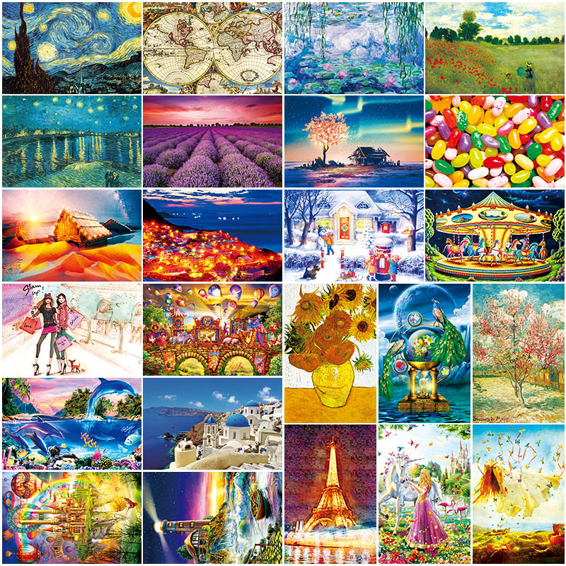 Grownup 100pcs Puzzle Famous Landscape Puzzle Cartoon Jigsaw Puzzles 100 Piece For Children Educational Toys New Year Gifts