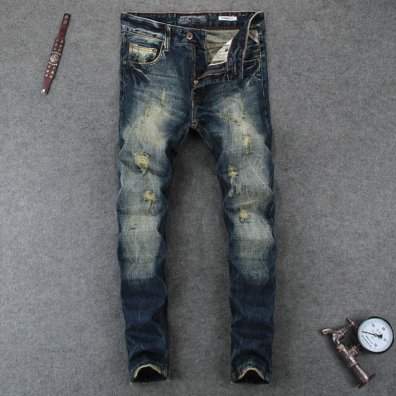 Retro Design Men Jeans Fashion Street Brand Clothing Destroyed Ripped Jeans Mens Pants High Quality Skinny Motor Biker Jeans retro design men jeans vintage style slim fit destroyed ripped jeans men high quality denim motor biker jeans skinny mens pants