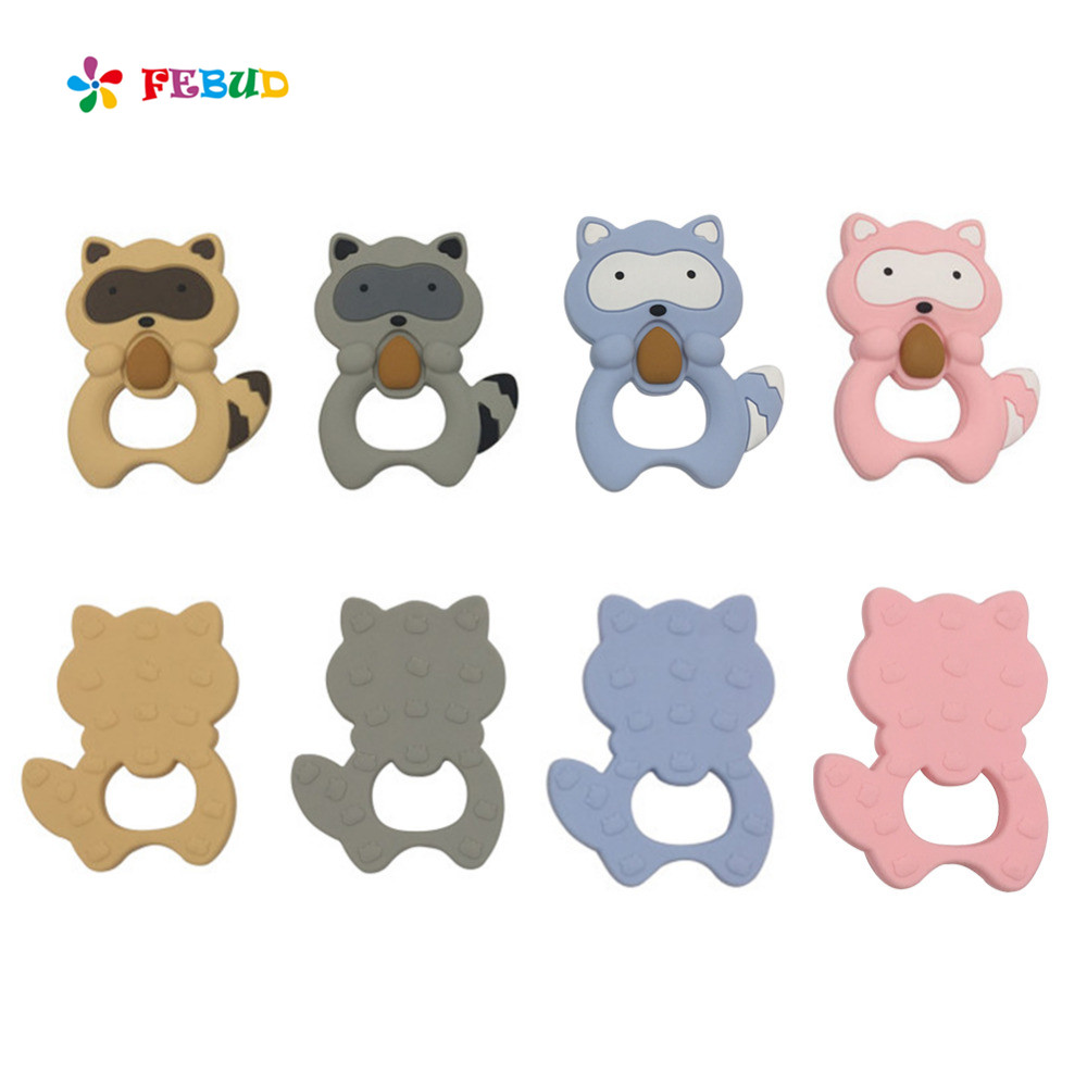 Baby Teethers Small Raccoon Animal Teether Teeth Grinding Toy Silicone Safe BPA Free Teeth Toy Infant Teether Sensory Toy