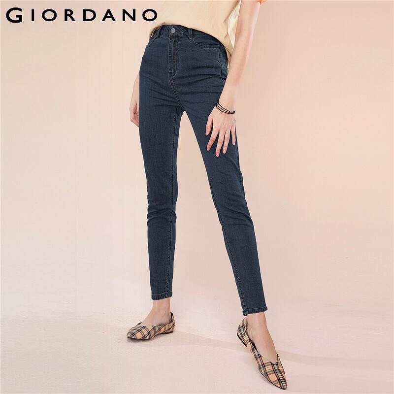 Giordano Women Denim Jeans Women Multi Pockets Slim Fitting Washed Denim Jeans Woman Quality Blended Fabric Femme
