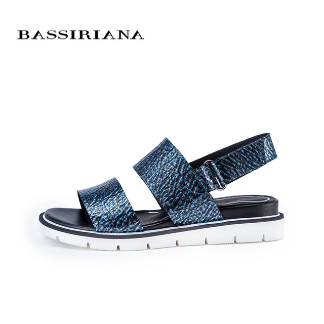 Summer 2017 Genuine leather flats sandals women shoes Blue Silver color 35-40 size Back strap Free shipping BASSIRIANA
