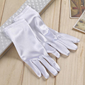 White Satin Bridal Gloves With Finger Short Design Cheap Wedding Gloves For Bride Accessories Luvas De Noiva Made In China