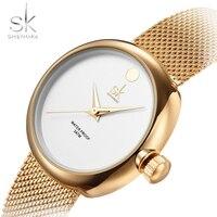 SK 최고 럭셔리 브랜드 패션 여성 시계 여성 스틸 메쉬 스트랩 로즈 골드 팔찌 쿼츠 시계 Reloj Mujer 2017 새로운